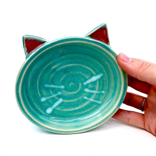 Turquoise Pottery Cat Dish, Handmade Elevated Bowl, Cat Ears T01