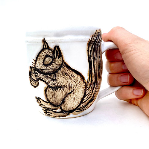 Squirrel Pottery Mug, Handcarved Ceramic cup, Handmade Wheel throw