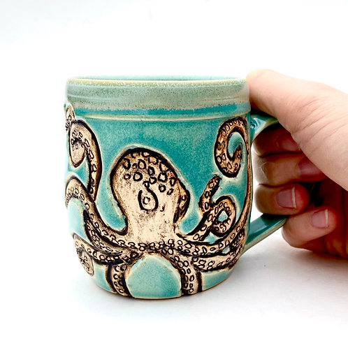 PREORDER Octopus Pottery Mug, Handcarved Ceramic cup, Handmade Wheel thrown