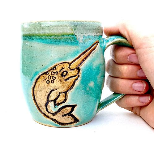 Narwhal Pottery Mug, Handcarved Ceramic cup, Handmade Wheel throw