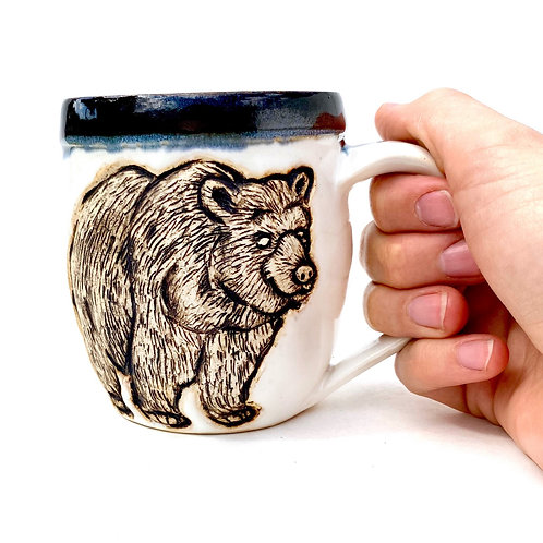 Bear Pottery Mug, Handcarved Ceramic cup, Handmade Wheel throan