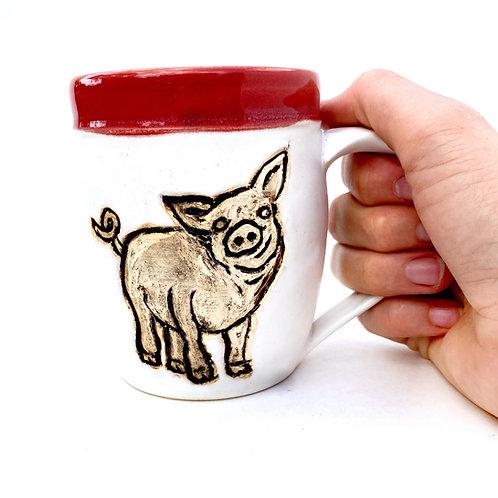 Pig Pottery Mug, Handcarved Ceramic cup, Handmade Wheel thrown