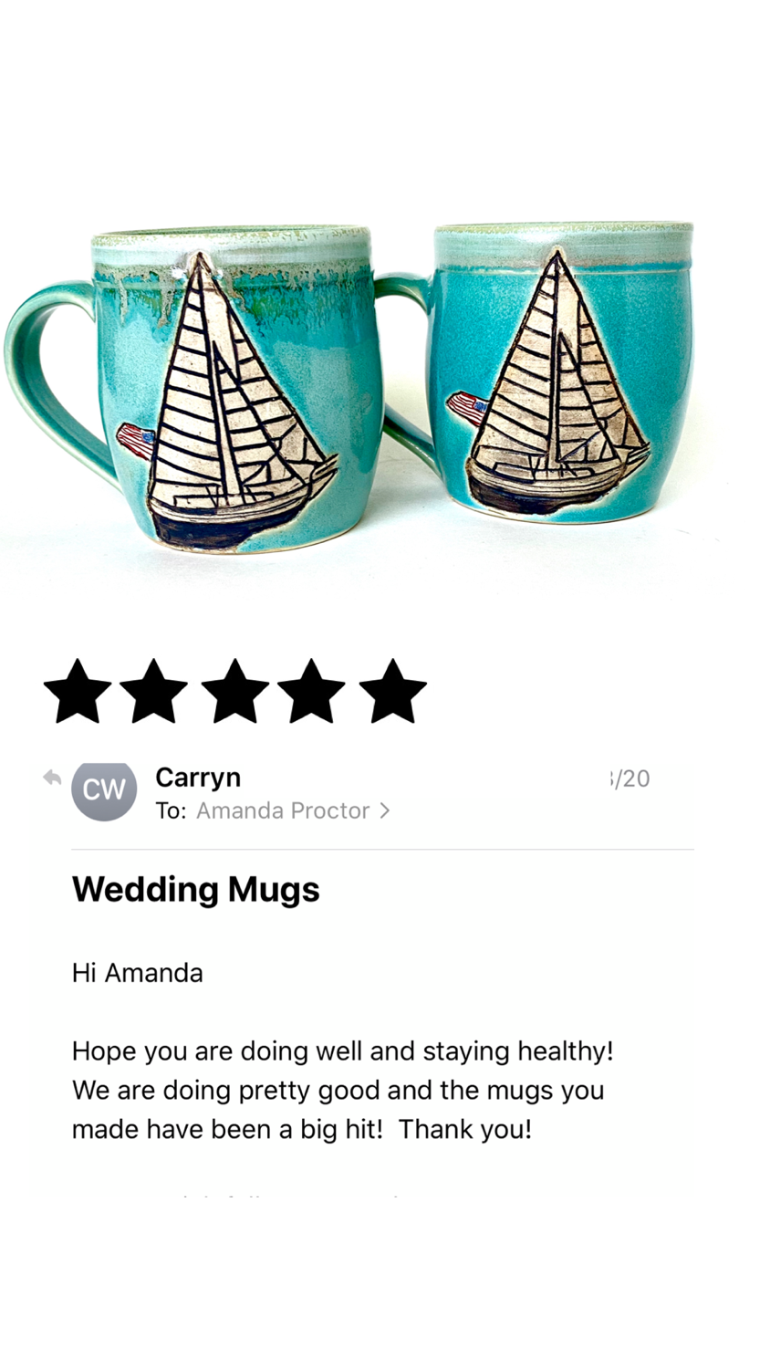 Anniversary Gift Sailboat Mugs