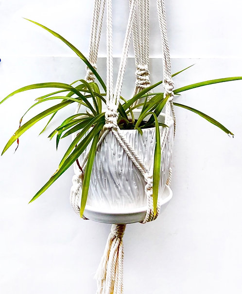 Tree Bark Carved Planter with Macrame Hanger, Satin Lace White, PL04