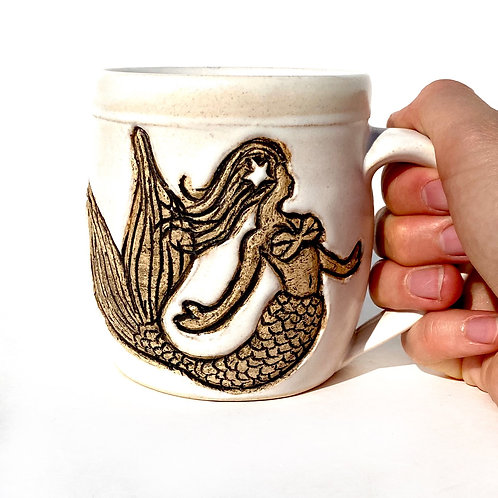 Mermaid Pottery Mug, Ocean Handmade Ceramic Cup, Wheel Thrown