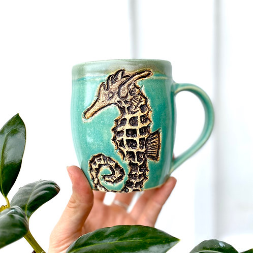 Seahorse Pottery Mug, Ocean Handmade Ceramic Cup, Wheel Thrown