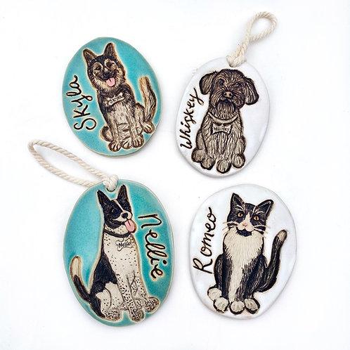 Leslie RESERVED Custom Pet Portrait Ornament