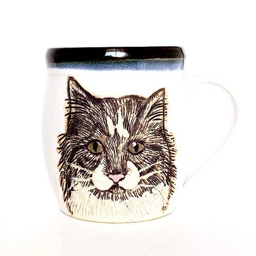 Cat Pottery Mug, Handcarved, Wheel thrown Handmade Ceramic