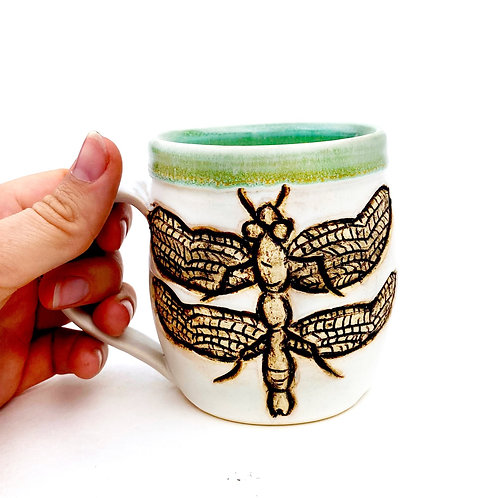 Dragonfly Pottery Mug, Handcarved Ceramic cup, Handmade Wheel thrown