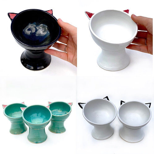 PREORDER Pottery Cat Bowl, Handmade Elevated Bowl, Cat Ears