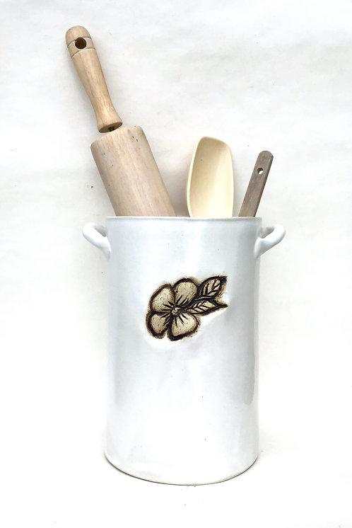 Flower Utensil Holder, Satin Lace White, Handmade Pottery