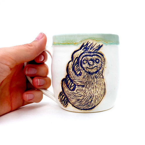 Sloth Pottery Mug, Handcarved Ceramic cup, Handmade Wheel thrown
