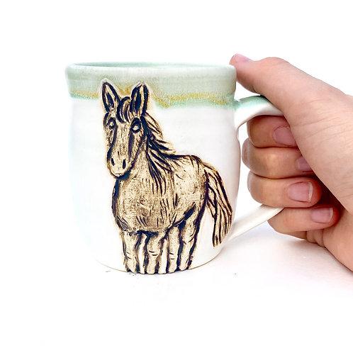 Horse Pottery Mug, Handcarved Ceramic cup, Handmade Wheel thrown