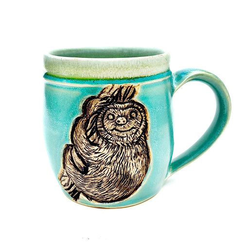 Sloth Pottery Mug, Handcarved Ceramic cup, Handmade Wheel thrown