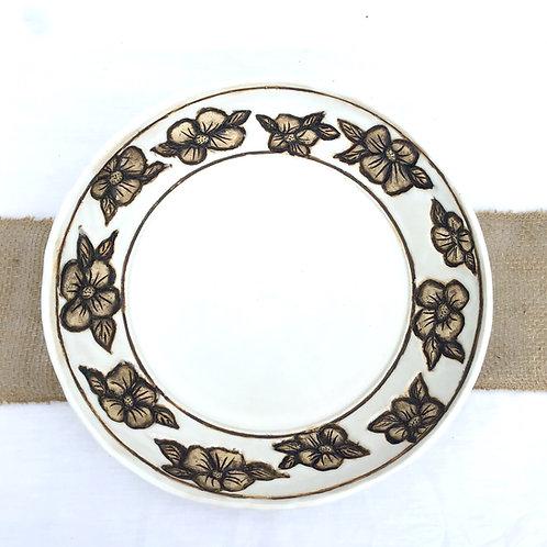 Flower Serving Platter, Satin Lace White, Handmade Pottery