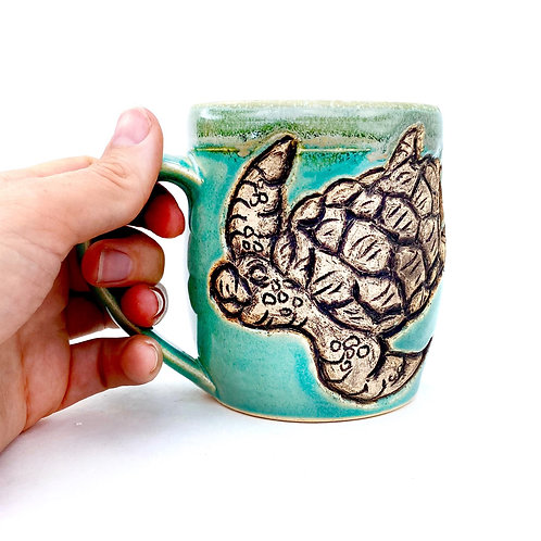 Sea Turtle Pottery Mug, Handcarved Ceramic cup, Handmade Wheel thrown
