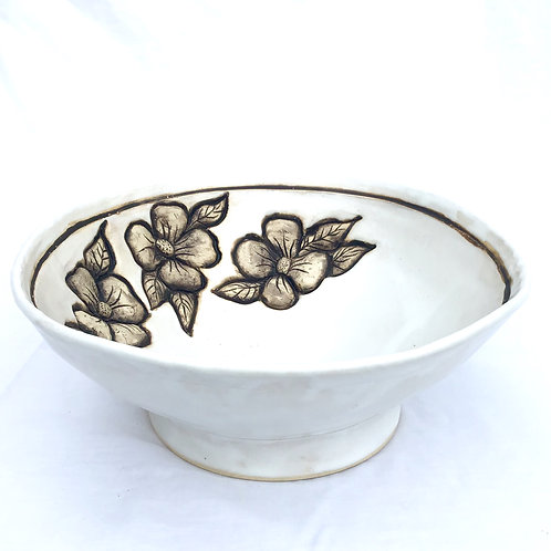 PREORDER Magnolia Flower Serving Bowl, Large Fruit Bowl, Handmade Pottery