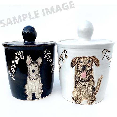 Rebecca RESERVED Custom Pet Portrait Treat Jars
