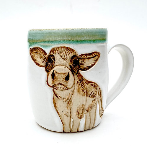 Cow Pottery Mug, Handcarved Ceramic cup, Handmade Wheel thrown