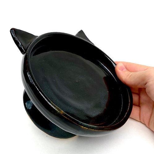Black Pottery Cat Dish, Handmade Elevated Bowl, Cat Ears Bd05