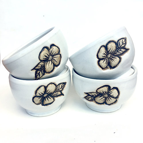 Flower Pottery Bowl, Satin Lace White