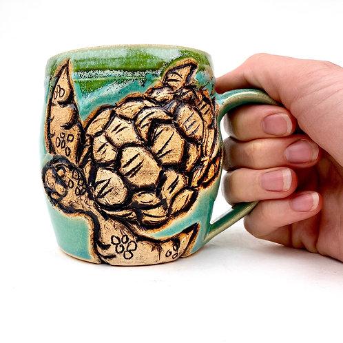 Sea Turtle Pottery Mug, Handcarved Ceramic cup, Handmade Wheel thrown