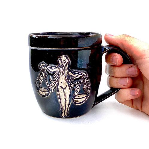 Libra Zodiac Pottery Mug, Horoscope Ceramic cup, Astrology Sign