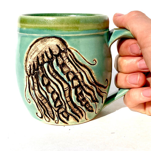 Jellyfish Pottery Mug, Ocean Handmade Ceramic Cup, Wheel Thrown
