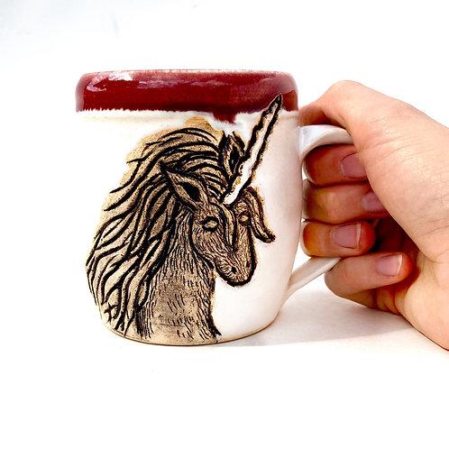 Unicorn Pottery Mug, Handcarved Ceramic cup, Handmade Wheel thrown