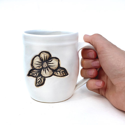 Flower Pottery Mug, Satin Lace White, Standard Size