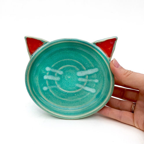 Turquoise Pottery Cat Dish, Handmade Elevated Bowl, Cat Ears T02