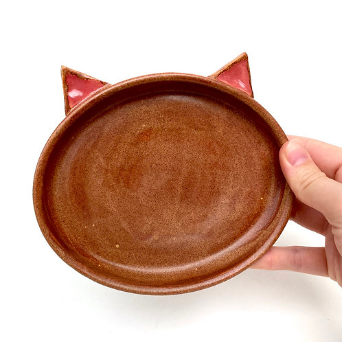 Orange Pottery Cat Dish, Handmade Elevated Bowl, Cat Ears Od01