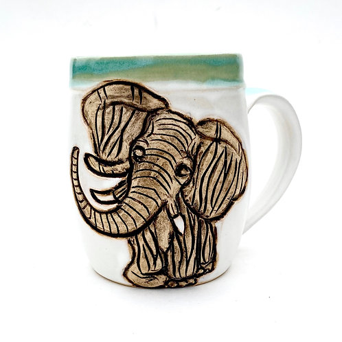 Elephant Pottery Mug, Handcarved, Wheel thrown Handmade Ceramic