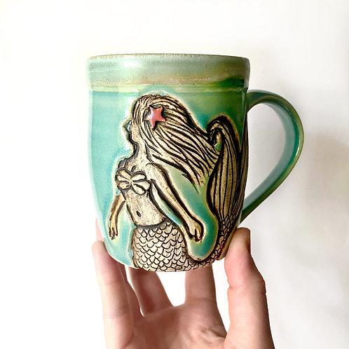 Mermaid Pottery Mug, Ocean Handmade Ceramic Cup, Wheel Thrown