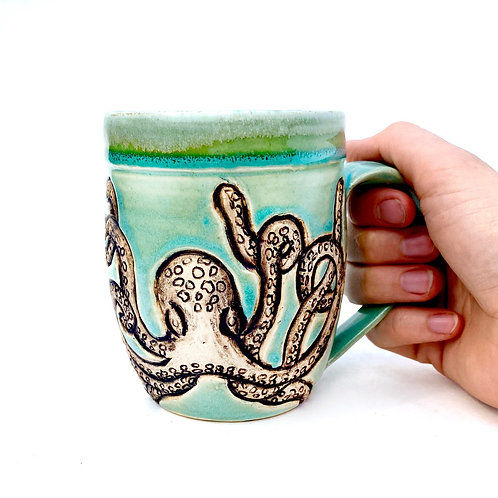 Octopus Pottery Mug, Handcarved Ceramic cup, Handmade Wheel throw