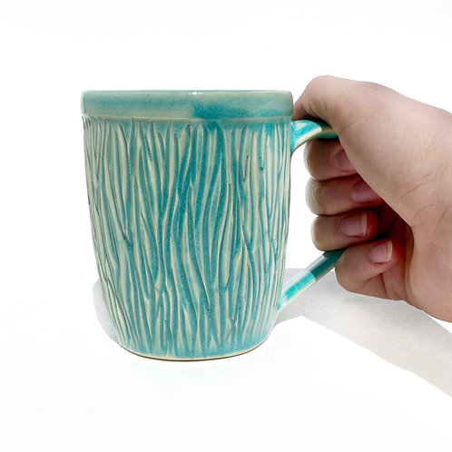 Tree Bark Carved Mug, Turquoise blue, Pottery mug