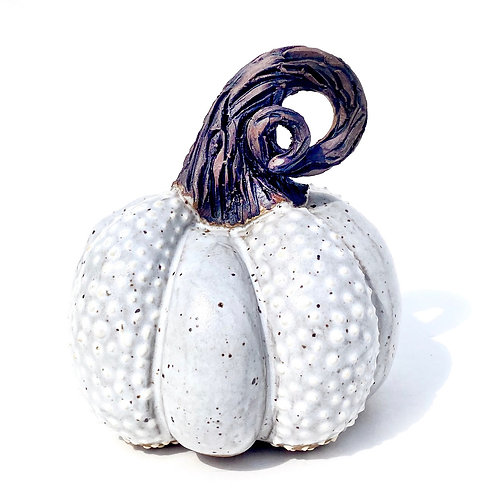 White Pottery Pumpkin, Handmade Sculpted Pumpkin, Fall Decor, W06