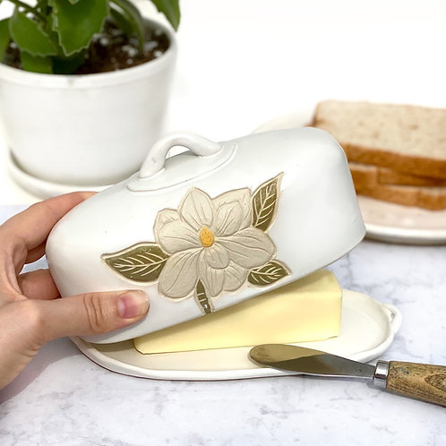 Preorder! Flower Butter Keeper, Covered Dish for stick Butter