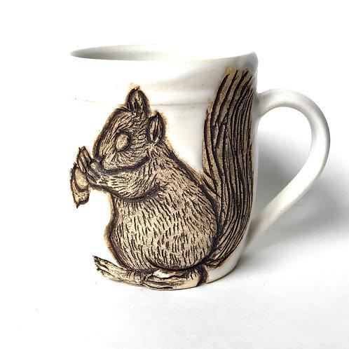Squirrel Pottery Mug, Handcarved Ceramic cup, Handmade Wheel throw