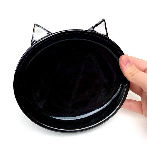 Black Pottery Cat Dish, Handmade Elevated Bowl, Cat Ears Bd04