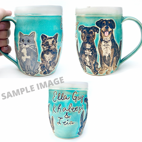 Heather H RESERVED Custom Pet Portrait Mug