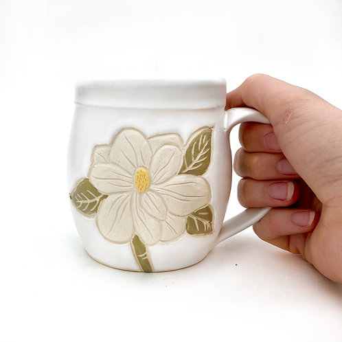 Preorder! Magnolia Pottery Mug, Handmade Carved Ceramics