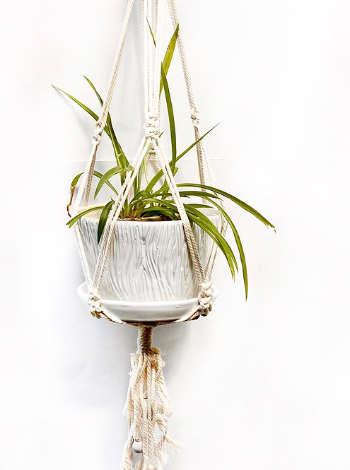 Tree Bark Carved Planter with Macrame Hanger, Satin Lace White, PL02