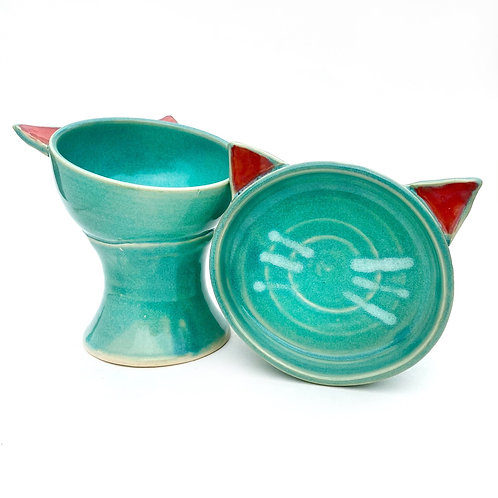 Turquoise Pottery Cat Bowl, Handmade Elevated Bowl, Cat Ears, Bb01