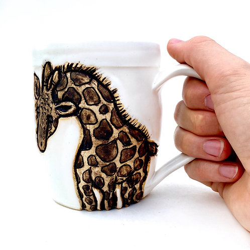 Giraffe Pottery Mug, Handcarved Ceramic cup, Handmade Wheel thrown