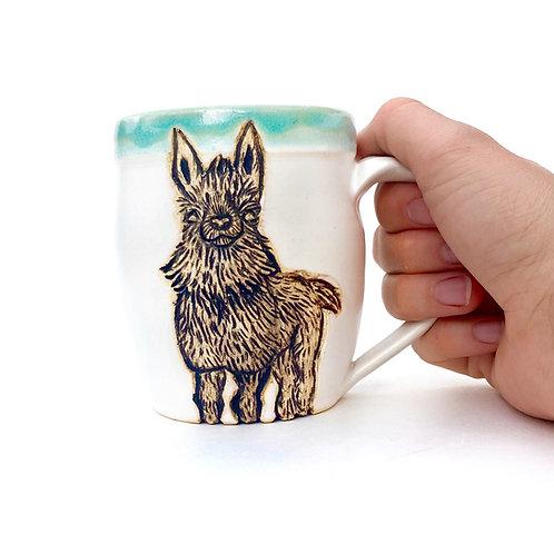 Llama Pottery Mug, Handcarved Ceramic cup, Handmade Wheel thrown