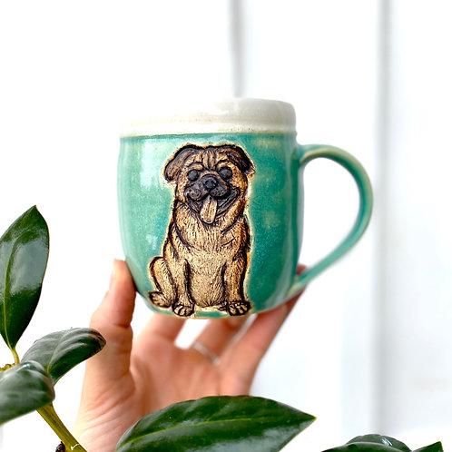 Pug Mug, Pottery Mug Handcarved, Wheel thrown Handmade Ceramic