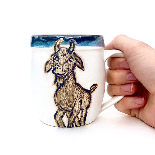 Goat Pottery Mug, Handcarved Ceramic cup, Handmade Wheel thrown