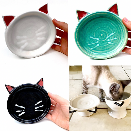 PREORDER Pottery Cat Dish, Handmade Elevated Bowl, Cat Ears