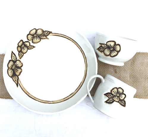 Flower Dinnerware Place Setting PREORDER, Satin Lace White, Handmade Pottery